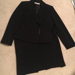 Tahari ASL petite black skirt suit set